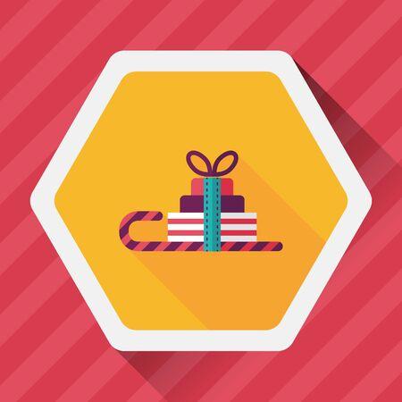 christmas sleigh: Christmas sleigh gift basket flat icon with long shadow,