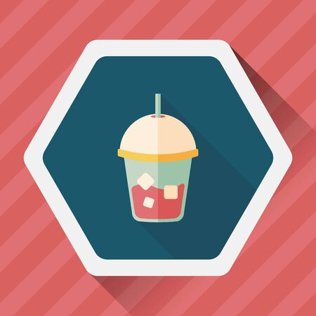 long drink: iced drink flat icon with long shadow