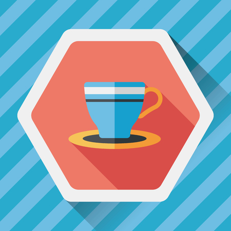 lliquid: coffee cup flat icon with long shadow,