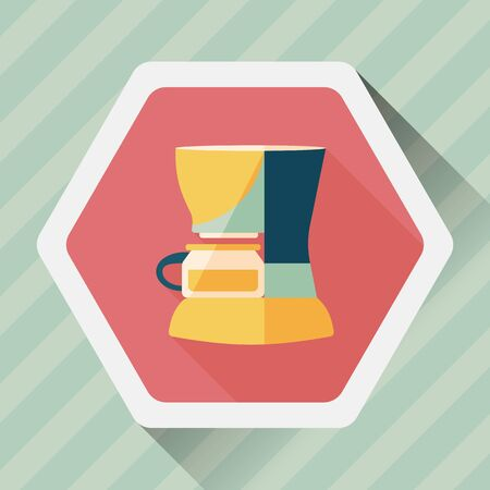 coffee machine: coffee machine flat icon with long shadow