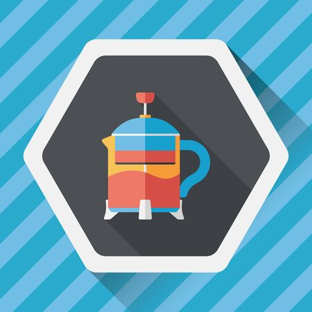 teakettle: tea pot flat icon with long shadow,