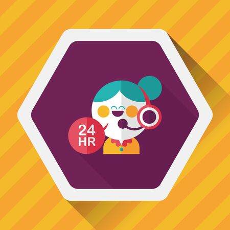 shop opening hours: 24 hours customer phone service flat icon with long shadow