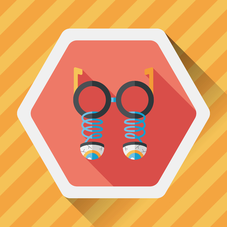fake nose and glasses: Halloween toy flat icon with long shadow Illustration
