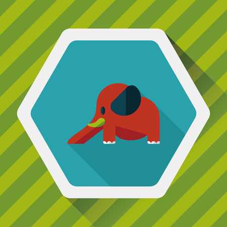 pursuit: elephant slide flat icon with long shadow