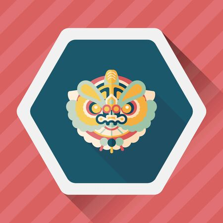 lion dance: Chinese New Year flat icon with long shadow,