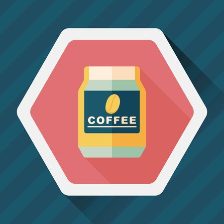 food storage: glass canned coffee flat icon with long shadow, Illustration