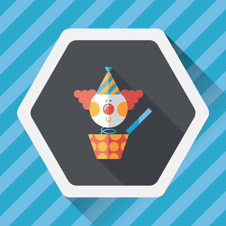 jukebox: Jack in the box flat icon with long shadow
