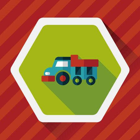 earth moving: Dump truck flat icon with long shadow