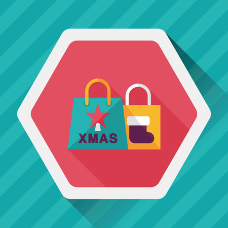 christmas shopping bag: Christmas shopping bag flat icon with long shadow