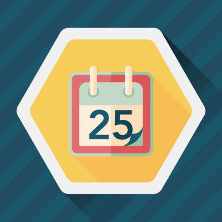 long shadow: Calendar flat icon with long shadow, Illustration