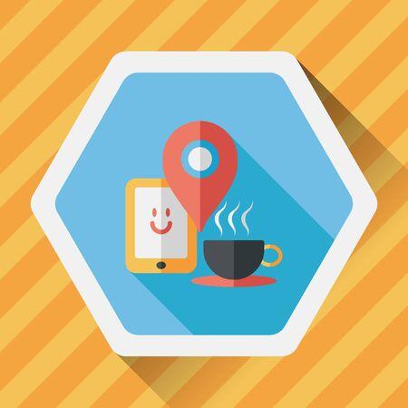 lliquid: coffee flat icon with long shadow,