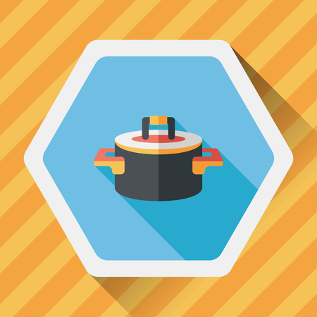 stew pot: kitchenware pot flat icon with long shadow,