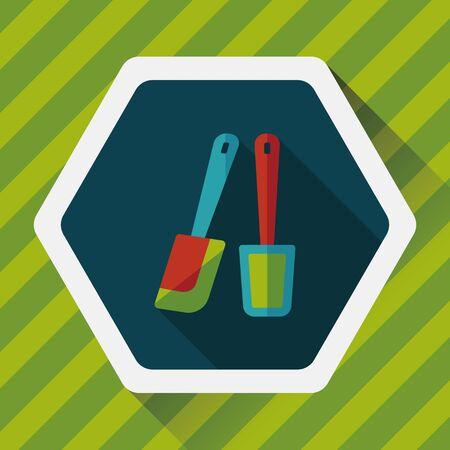 batidora: utensilios de cocina batidor icono plana con larga sombra, Vectores