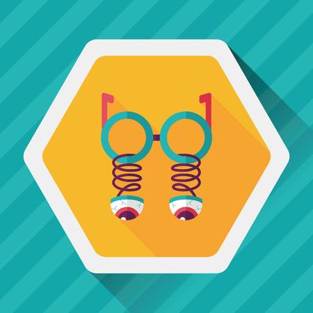 joke glasses: Halloween toy flat icon with long shadow, Illustration