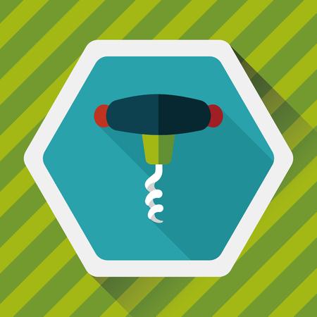 bottle screw: kitchenware corkscrew flat icon with long shadow