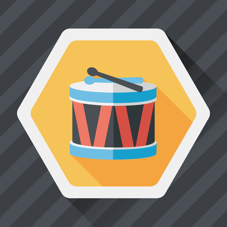 drumming: drum flat icon with long shadow, Illustration