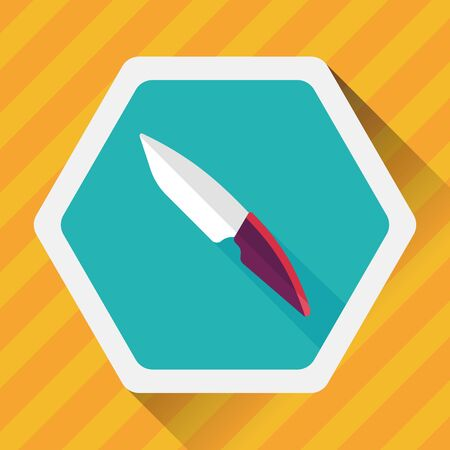 cut out device: kitchenware fruit knife flat icon with long shadow Illustration