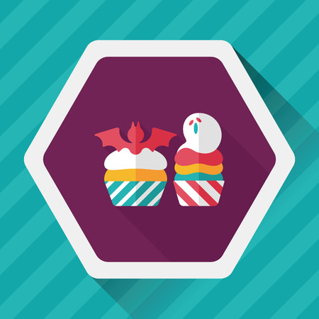 viewpoint: Halloween cupcakes with bat flat icon with long shadow,