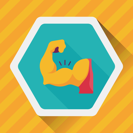 tummy: muscle man flat icon with long shadow