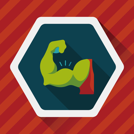 muscle man flat icon with long shadow