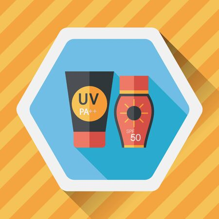 suntan lotion: Sunscreen flat icon with long shadow