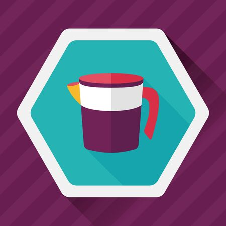 measuring cup: kitchenware measuring cup flat icon with long shadow, Illustration