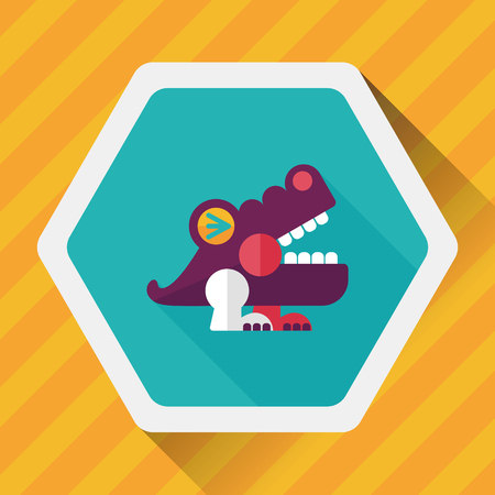 corrientes: crocodile toy flat icon with long shadow, Illustration