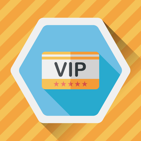 shopping vip card flat icon with long shadow,