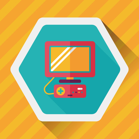 TV game flat icon with long shadow Vektorové ilustrace