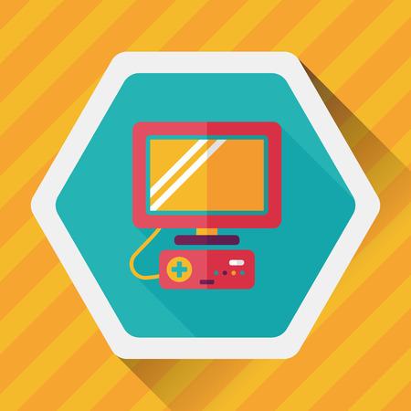 TV gra płaska ikona z długim cieniem Ilustracje wektorowe