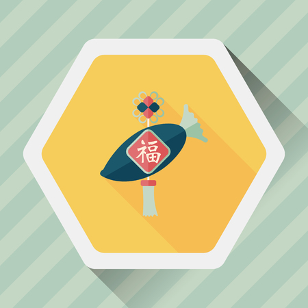 chines: Chinese New Year flat icon with long shadow Illustration
