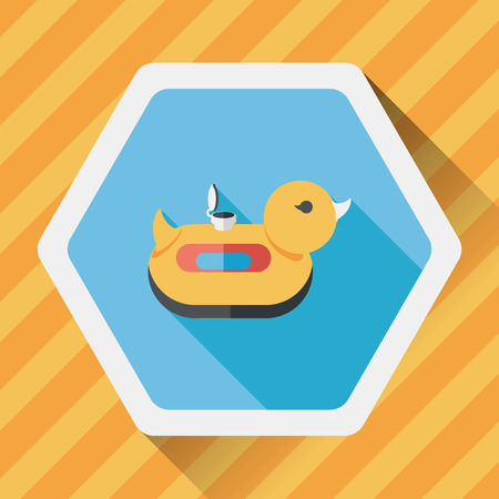 swimming belt: duck  Swim ring flat icon with long shadow