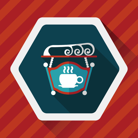coffeeshop: Coffee shop signs flat icon with long shadow