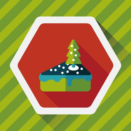 christmas cake: Christmas cake flat icon with long shadow