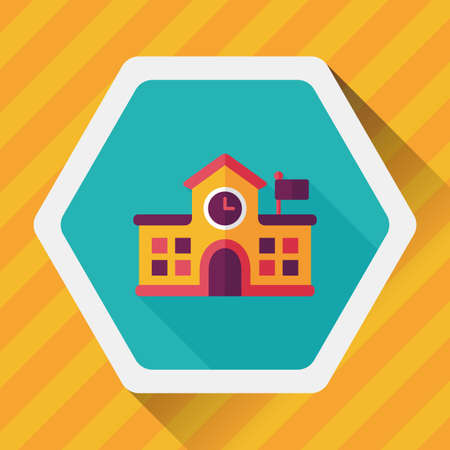 highschool: Building school flat icon with long shadow Illustration