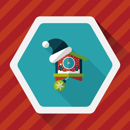 midnight hour: Christmas clock flat icon with long shadow Illustration