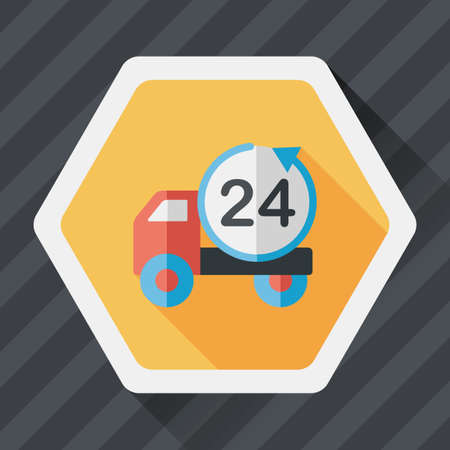 24 hours: 24 hours shopping freight transport flat icon with long shadow Illustration