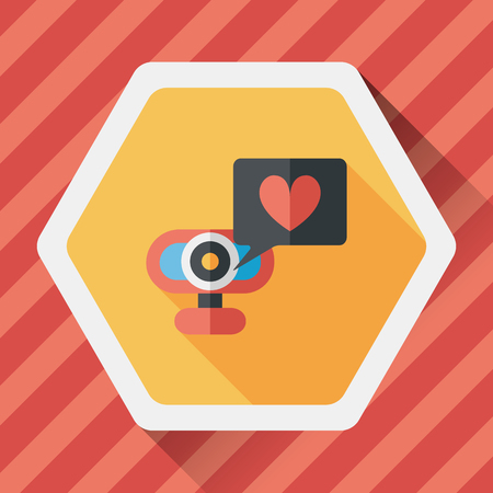 making face: Valentines Day webcame love message flat icon with long shadow