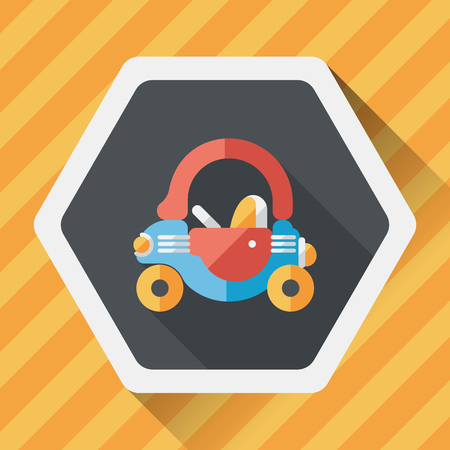 toy car walker flat icon with long shadow