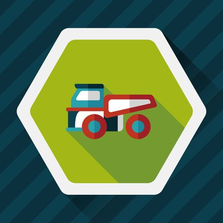 automotive industry: Transportation truck flat icon with long shadow