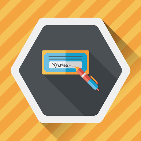 chequera: cheque factura icono plana con larga sombra Vectores