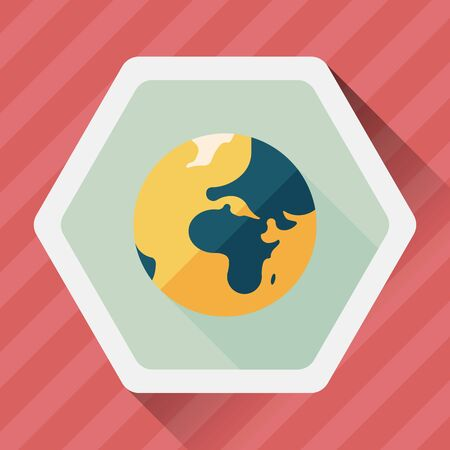 mainland: Space earth flat icon with long shadow Illustration