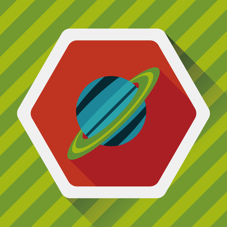 environmental science: Space planet flat icon with long shadow