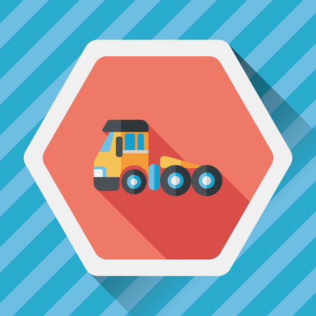 wrecker: Transportation Tow Truck flat icon with long shadow