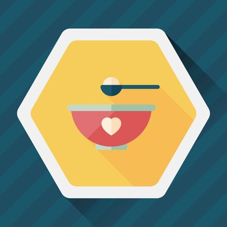 baby with spoon: baby food bowl flat icon with long shadow