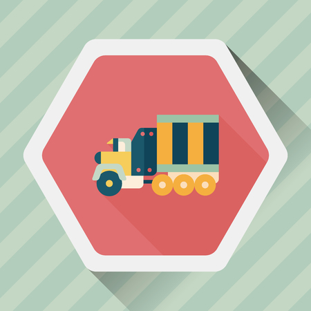 tow: Transportation Tow Truck flat icon with long shadow