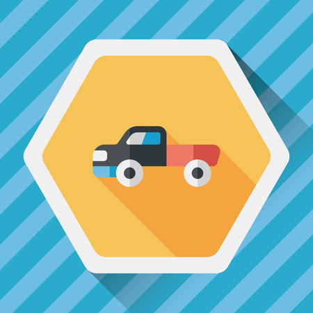 moving truck: Transportation moving truck flat icon with long shadow