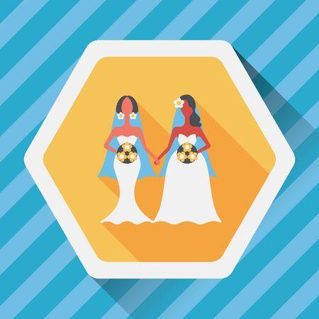 wedding couple: wedding couple flat icon with long shadow