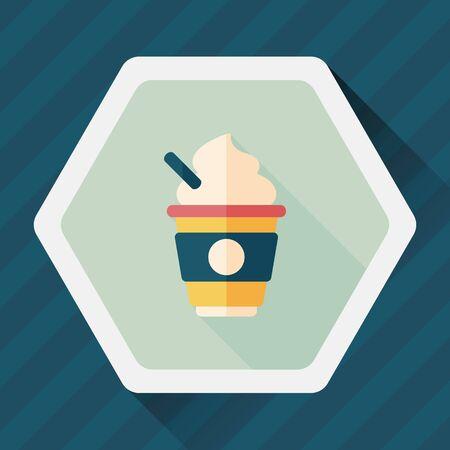 hot milk cream coffee flat icon with long shadow