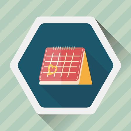 fourteen: Valentines Day February fourteen calendar flat icon with long shadow Illustration